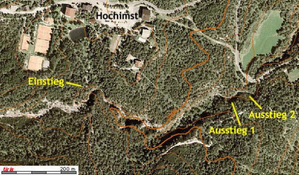 Orthofoto Mittlere Rosengartenschlucht - Details - mit Höhenlinien